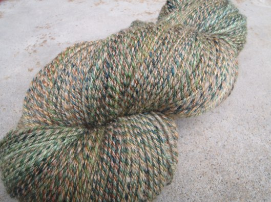 Camouflage - a 3-ply yarn of superwash merino, BFL and a merino-possum blend.